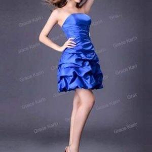 Tiered mini dress in blue satin